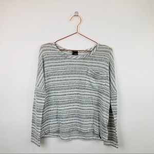 Sparkle & Fade Striped Pocket Long Sleeve Top